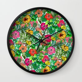 Hibiscus Haven Wall Clock