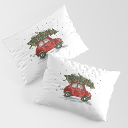 Vintage Car Christmas Pine Tree Pillow Sham