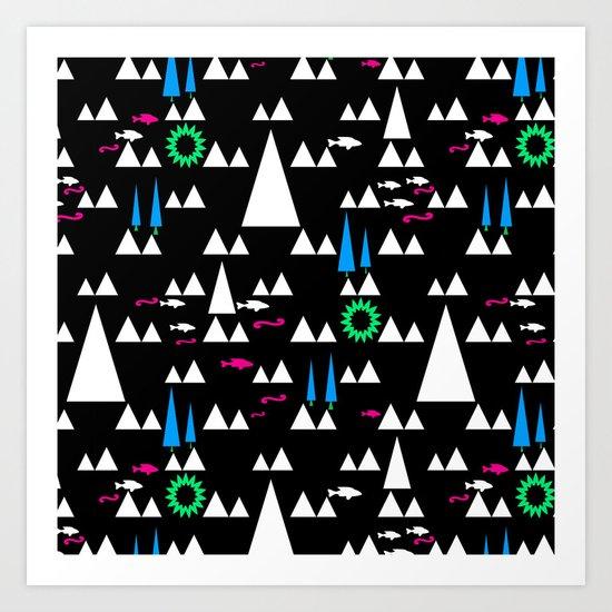 Ethnic simple pattern . Black . Art Print