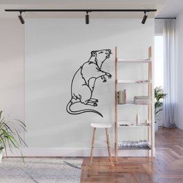 A Rat Standing on its legs Sniffing Wall Mural