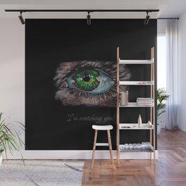I'm watching you! Big green eye. Oil Pastel. Black background Wall Mural