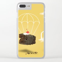 Isolated Chocolate cherry cake with parachute on yellow sky background Clear iPhone Case