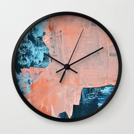 Delight [3]: a vibrant minimal abstract painting in blue and coral by Alyssa Hamilton Art Wall Clock
