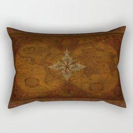 Antique Steampunk Compass Rose & Map Rectangular Pillow