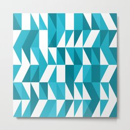 Blue triangulated geometric Abstract Pattern Metal Print