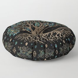 Tree of life -Yggdrasil Golden and Marble ornament Floor Pillow