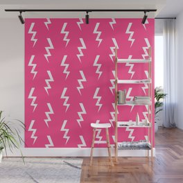 Bolts lightening bolt pattern pink and white minimal cute patterned gifts Wall Mural