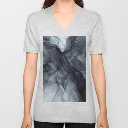 Gray Black Gradient Dramatic Flowing Abstract Painting Unisex V-Neck
