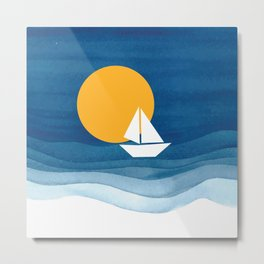 A sailboat in the sea Metal Print
