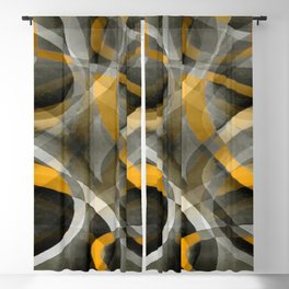 Eighties Retro Mustard Yellow and Grey Abstract Curves Blackout Curtain