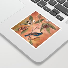 Blue Grosbeak with Sweetbay Magnolia, Vintage Natural History and Botanical Sticker