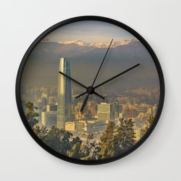 Santiago de Chile Aerial View from San Cristobal Hill Wall Clock