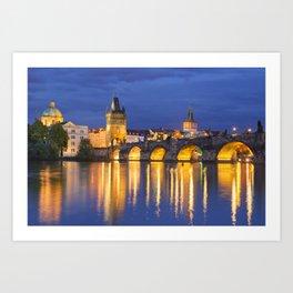 The Charles Bridge in Prague, Czech Republic at night Art Print