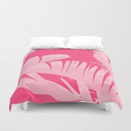 Chill Pink Tropical Banana Leaves Design Duvet Cover