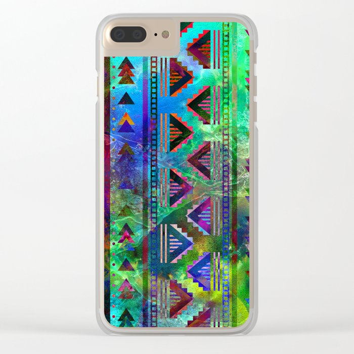 blue green pattern triangles Clear iPhone Case