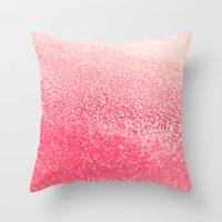 coral Throw Pillows featuring CORAL by Monika Strigel