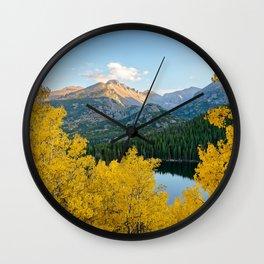 BEAR LAKE COLORADO AUTUMN PHOTO - ROCKY MOUNTAIN NATIONAL PARK FALL IMAGE- LANDSCAPE PHOTOGRAPHY Wall Clock