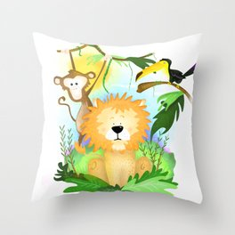 jungle with animals Throw Pillow