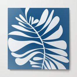 Blue White Tropical Leaf Metal Print