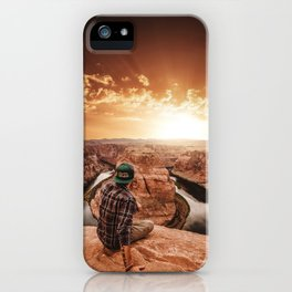man on top of horse shoe bend iPhone Case