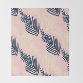 Pink Palms Throw Blanket