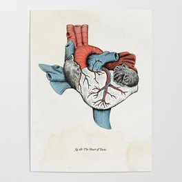 The Heart of Texas (Red, White and Blue) Poster