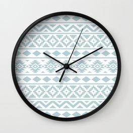 Aztec Essence Ptn III Duck Egg Blue on White Wall Clock