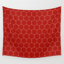 Simple Honeycomb Pattern - Red & White - Mix & Match with Simplicity of Life Wall Tapestry