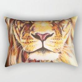 Lion drawing, pastel pencils Rectangular Pillow