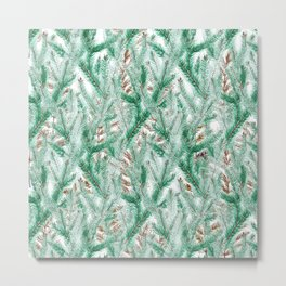 Green brown watercolor hand painted pine leaves floral Metal Print