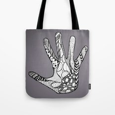 Doodle Hand (Black White) Tote Bag