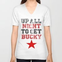 bucky barnes V-neck T-shirts featuring Up All Night Bucky Barnes by BethTheKilljoy