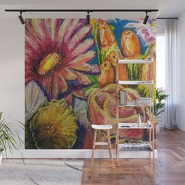 Floral Pastel Painting Wall Mural