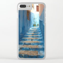 Narrow Blue Stairway in Morocco Clear iPhone Case