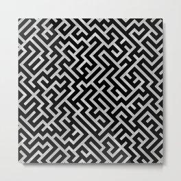 Maze -Black and Silver- Metal Print