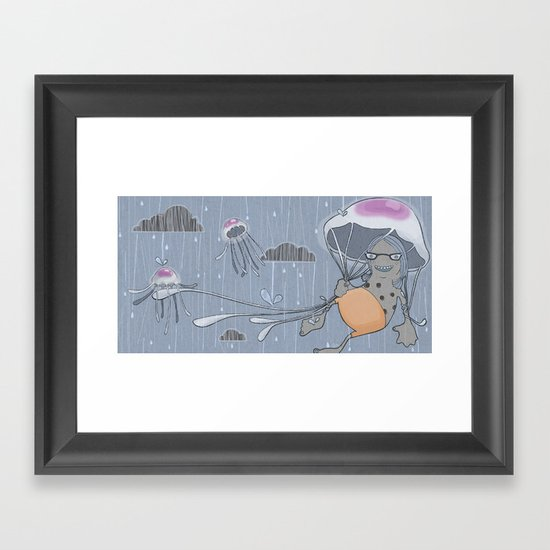 Rainstorm-blue Framed Art Print