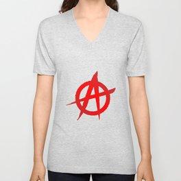 Red Anarchy Symbol Unisex V-Neck
