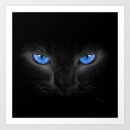 Black Cat in Blue Eyes Art Print