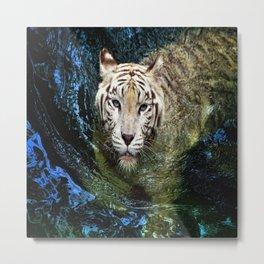 White Tiger In Blue Water Metal Print