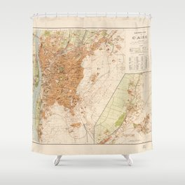 General Map of Cairo, Egypt (1920) Shower Curtain