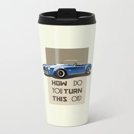 The Classic Game Cheat Code: How do you turn this on Funny Blue Cobra Car Metal Travel Mug