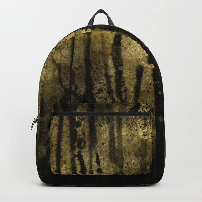 Black and Gold grunge modern abstract ink background Backpack