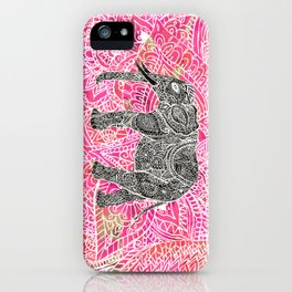 Pink Safari | Tribal Paisley Elephant Henna Pattern iPhone Case