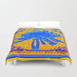 ABSTRACT BABY BLUE SPIDER MUM ON GOLD PATTERN FLOWERS Duvet Cover