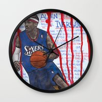 nba Wall Clocks featuring NBA PLAYERS - Allen Iverson by Ibbanez