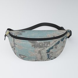 Aqua and Gray Vintage Kilim Square Fanny Pack