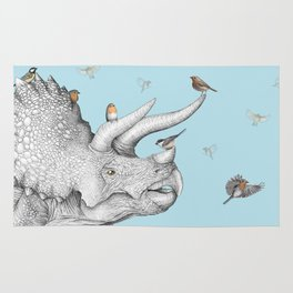 Triceratops and Birdies Rug
