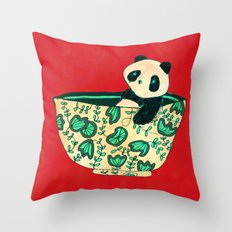 Dinnerware sets - panda in a bowl Throw Pillow
