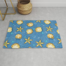 Blue seamless of gold seashells Rug