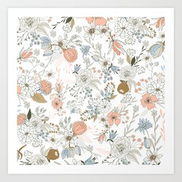 Abstract modern coral white pastel rustic floral Art Print